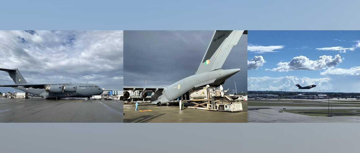 4 cryogenic tankers airlifted by Indian Air Force from Perth, Western Australia to India.
